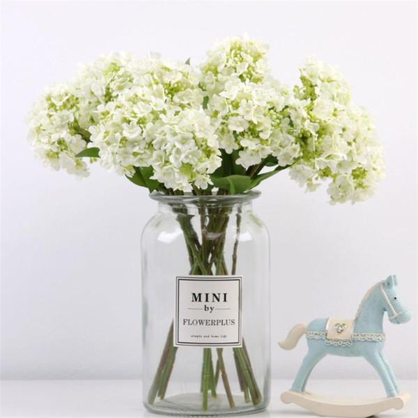 Fake solo tallo copo de nieve Hydrangea simulación mini hortensias para la boda escaparate hogar Flores artificiales decorativas 7 colores