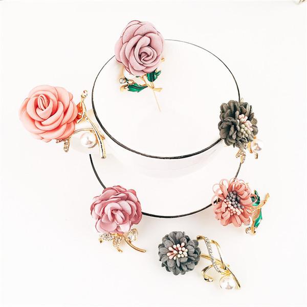 Fashion brooch brooch handmade fabric flowers pearl brooch fashion simple versatile clothing