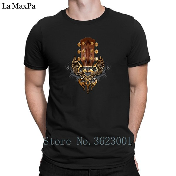Design Leisure Tee Shirt Man Guitar Head Stock Twin Eagle Tshirt Plus Size Fitness T Shirt Awesome Men's T-Shirt Comical Unisex