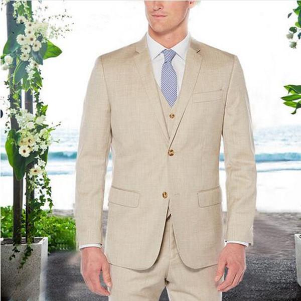 Fashion Khaki Men Suits Wedding Tuxedos Custom Made Groomsmen Blazers Slim Fit Groom Tuxedo Casual Men Suits (jaacket+pant+vest)