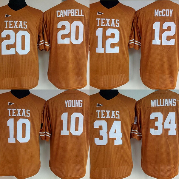 timeless design ed125 39f51 2019 Womens Texas Longhorns College Jerseys #34 Ricky Williams 12 Colt  McCoy 20 Earl Campbell 10 Vince College Football Stitched Jerseys From ...