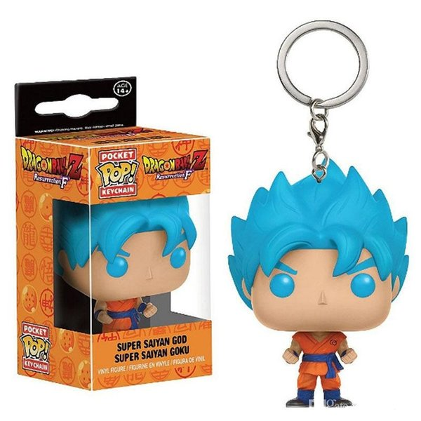 Funko Pocket POP Keychain - Super Saiyan Goku Blue Hair Dragon Ball Z Vinyl Figure Keyring with Box Toy Gift Good Quality Free Shipping