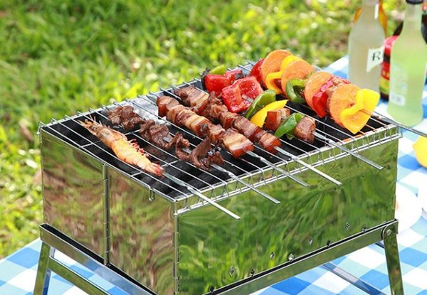 Portable Picnic BBQ Barbeque Needle 35cm Camping Stainless Steel Grilling Party Kabob Kebab Flat lamb Skewers forks WN091