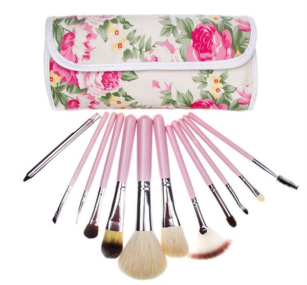 Hot New Makeup brushes makeup brush 12pcs Professional Brush sets with Rose Printed Pouch Goat hair DHL shipping