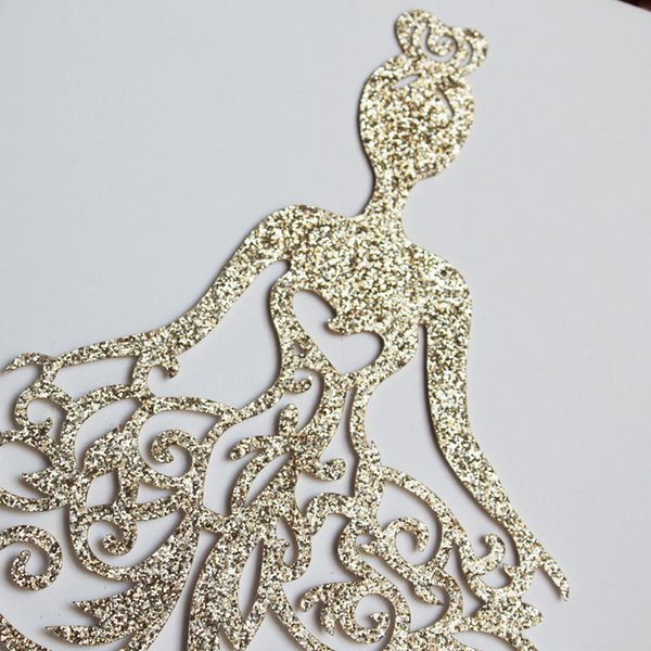 2019 New Unique Rose Gold Glitter Laser Cut Princess Wedding Invitation Card High Quality Personalized Hollow Flower Bridal Card Cheap Invitation From