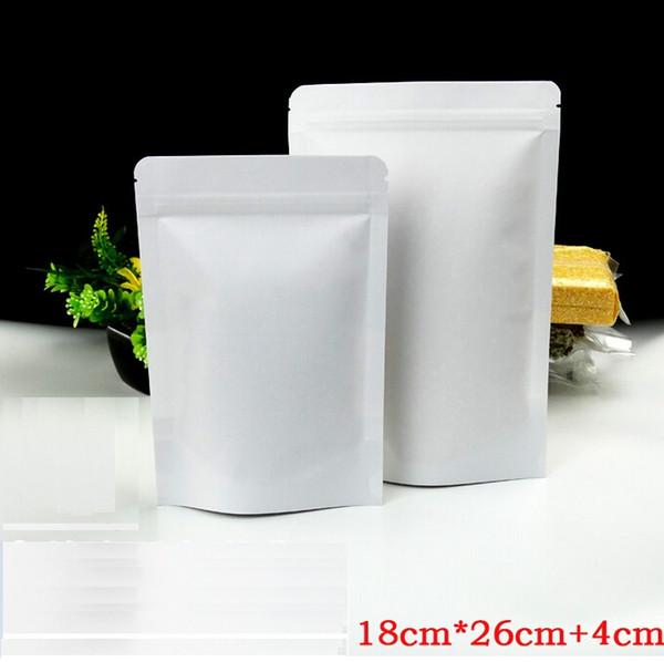 18 * 26cm, com quatro centímetros, branco levantar zipper / zip bloqueio saco selado com logotipo, alimentos sacos de papel de embalagem, saco de papaer reutilizável