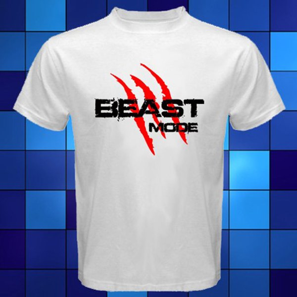 BEAST MODE Claws Logo *Marshawn Lynch White T-Shirt Size S M L XL 2XL 3XL T-Shirt Men Printing Custom Short Sleeve Big Size TV Show Tshirt