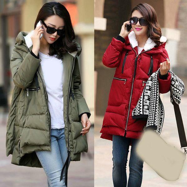 2018 Winter Women Hooded Thick Coat Outwear Female Warm Long Parka Coat Cotton Padded Plus Size