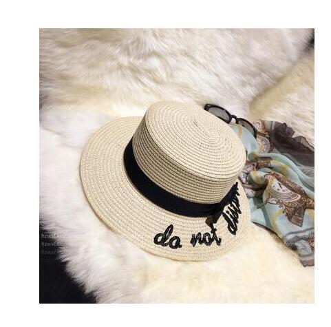 Ymsaid Korea Style Embroidery Letter Boater Hat Summer Beach Ribbon Round Bow Flat Top Wide Brim Straw Hat Women Fedora Panama Hat