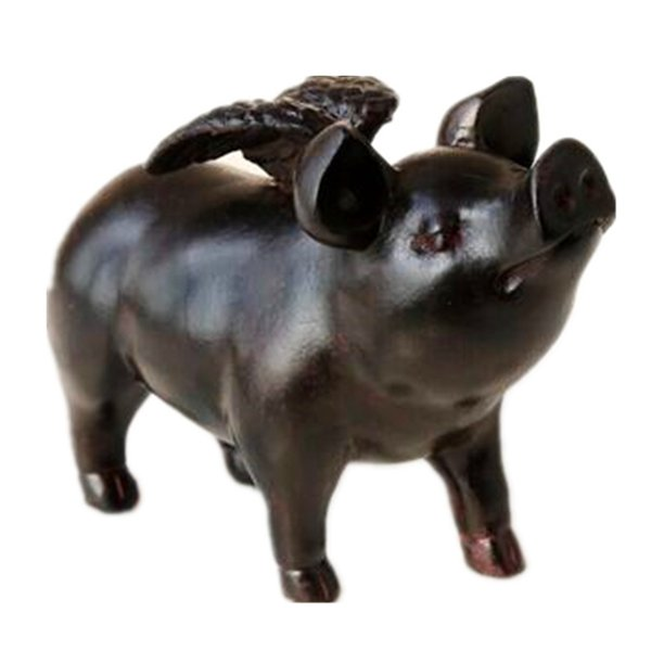 SaiDeKe retro resin black Angel pig Figurines Small flying wings pig Miniatures ornaments birthday gift for home decoration