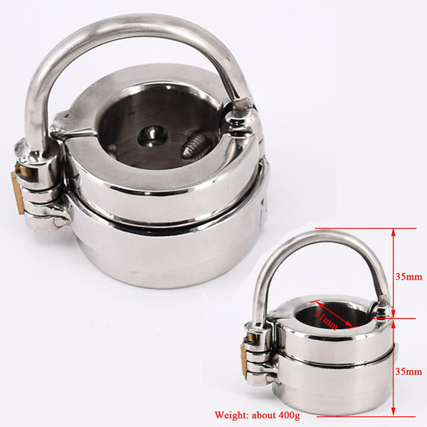 Hot Sale!!!Mens Penis Ball Locking Chastity Device Male Spiked Ball Stretcher Stainless Steel Penis Bondage Metal Cock And Scrotum Rings
