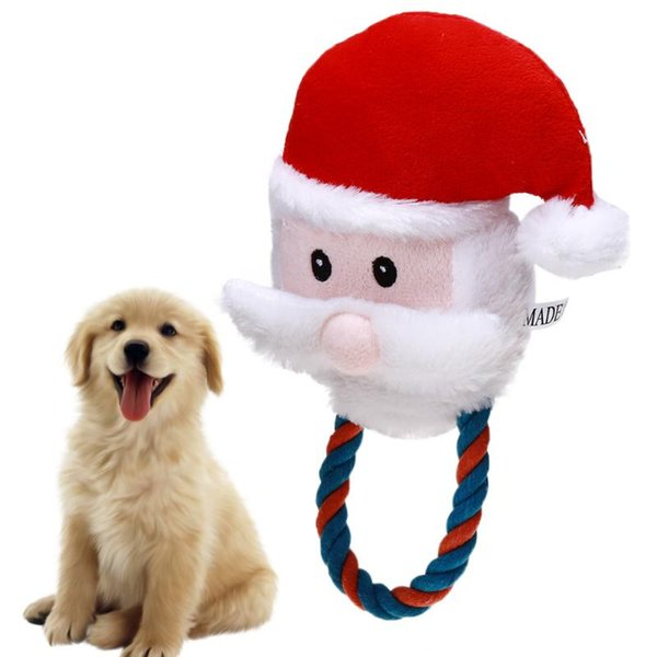 Santa Claus Shape Pet Toy Fabric Dog Toys Pet Puppy Cotton Rope Xmas Santa Claus Shape Chew Toys Christmas Decorations for home