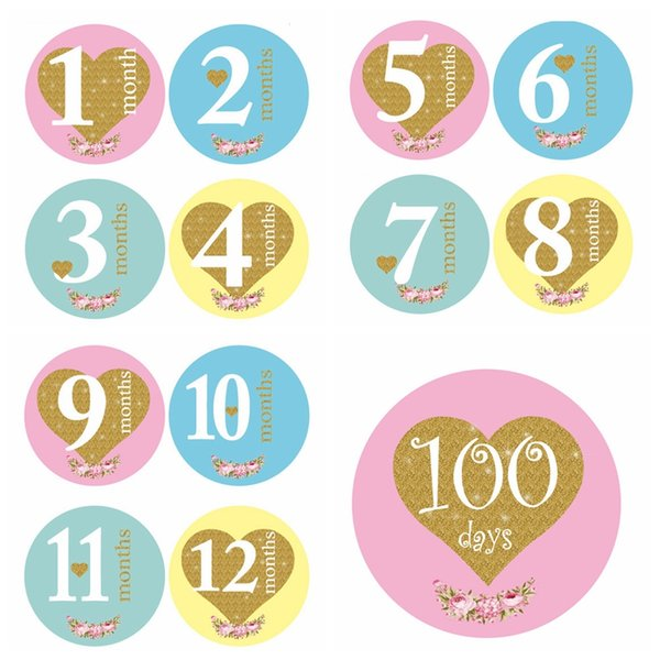 13Pcs/lot New Baby Monthly Photograph Stickers 1-12 Month +100 Days Set Stickers DIY Photo Album Cartoon Baby Photo Props