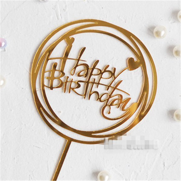 Happy Birthday Acrylic Cupcake Toppers DIY Cakes Picks Topper Wedding Birthday Party Decoration Baby Shower Supplies 5 Pcs