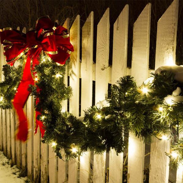 Мода Искусственные Рождественские Гирлянды Зеленая Сосна Свадебные Украшения Новый Год Xmas Реквизит Diy Feliz Navidad Партия Led String Light