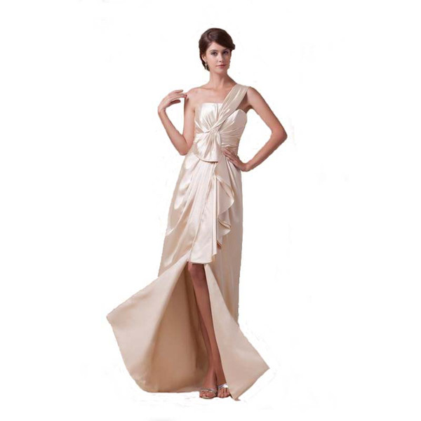 Vintage Style One Shoulder Ladies Long Party Dress Zip Back Evening Dress With Slit Free Shipping