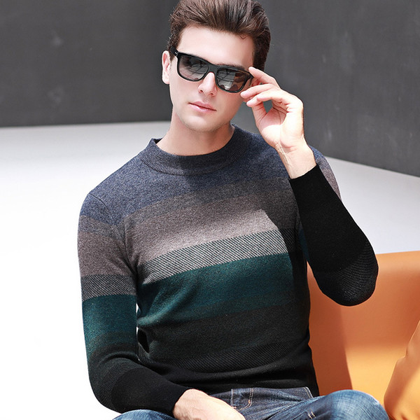 new high quality 100% Pure Wool Men Striped Jacquard Thickening Sweater Autumn Winter Jacket Bottoming O-neck Casual size S-XXL