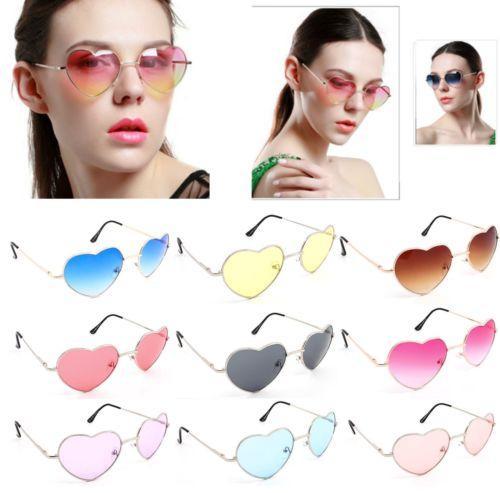 UV400 Women Sunglasses Love Heart Shaped Glasses Retro Metal Frame for Summer