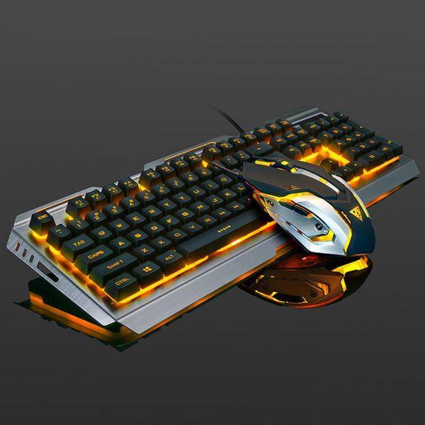 V1 Suspended Keycap USB verdrahtete, ergonomische Backlit Gaming-Tastatur und -Maus, mechanisches Gefühl, Aluminiumlegierung