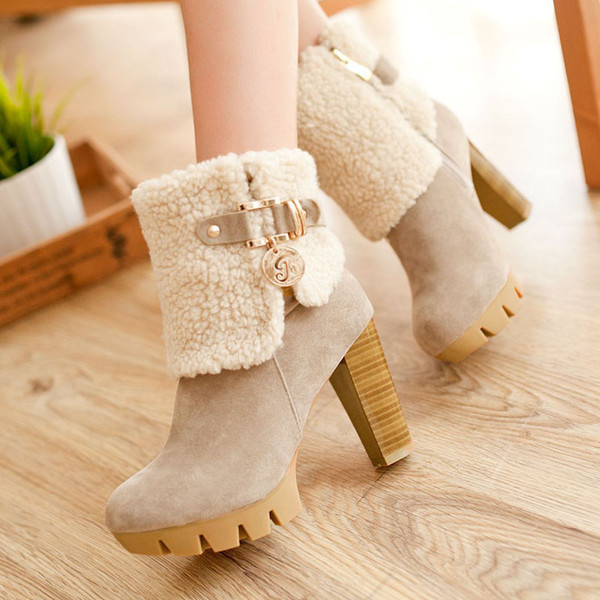 Women Boots 2018 Winter Fashion Women Shoes Flock Women Boots Warm Plush Zip High Heels Platform Ankle Boots