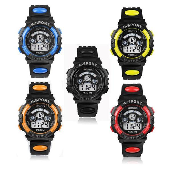 Impermeabile Moda Casual Bambini Kid Boy Digital LED Quartz Alarm Date Sport orologio da polso relojes Regalo di Natale di qualità