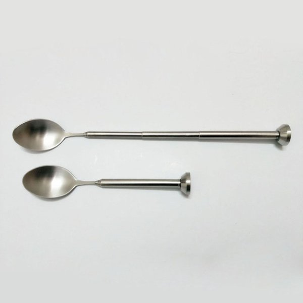 wholesale 50pcs Stainless Steel Retractable Bar Spoon Pocket Bar Tool Adjustable Stirring Spoon Cocktail Drink Barware