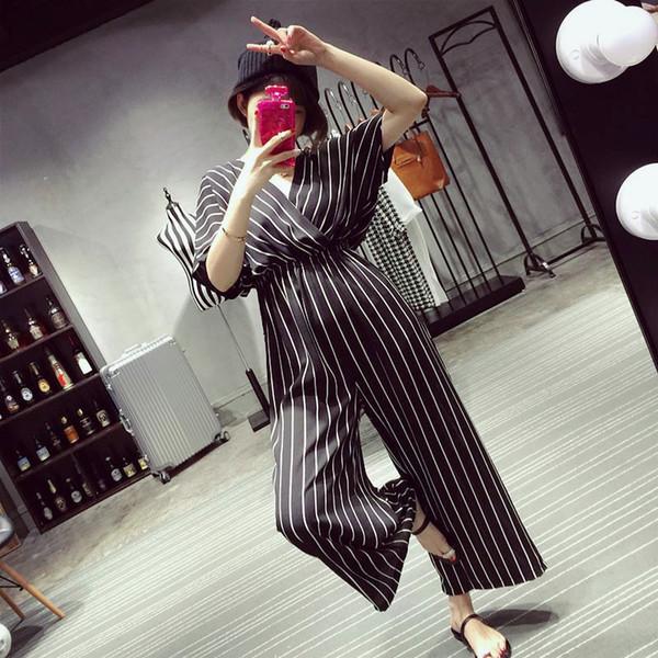 High waist slim Chiffon Black and white stripes jumpsuit wide-leg pants jumpsuits