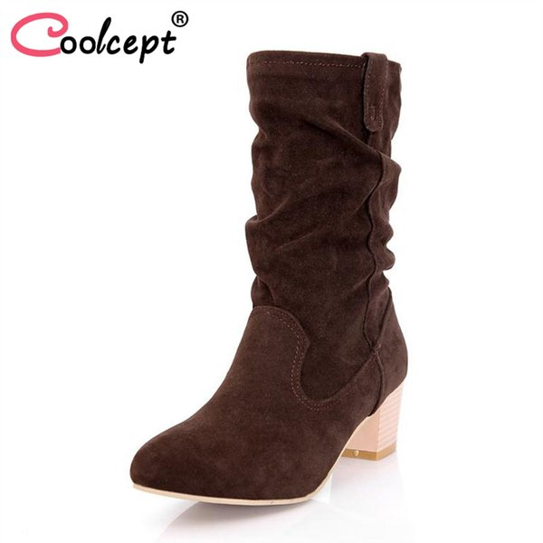Coolcept Mulheres Botas de Salto Alto Pele Morna Dedo Do Pé Redondo Sapatos Das Mulheres Do Vintage Mid Bezerro Botas de Moda Sapatos de Inverno Sexy Tamanho 34-43