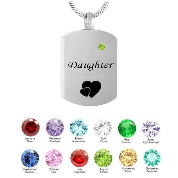 Personalized square Necklace Daughter Birthstone Name Pendant Cremation Urn Necklace Custom Jewelry