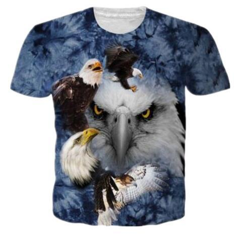 Fashion Men/Women 3D Blue Eagle Animal Print T Shirts Casual Short Sleeve T Shirt Summer Quick Dry Tops Clothing Funny Tees