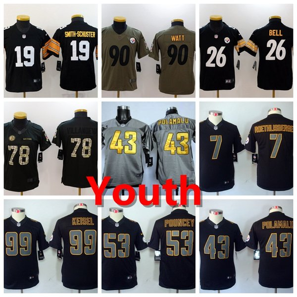 promo code f36d5 5abb9 2018 2019 Youth 53 Maurkice Pouncey Pittsburgh Jersey Steelers Kids  Football Jerseys 90 T.J. Watt 43 Troy Polamalu 7 Ben Roethlisberger 26 Bell  From ...