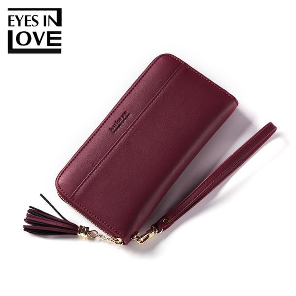 Eyes In Love Tassel Zipper Women Wallet Fashion Wristlets Leather Wallets Female Cell Phone Pocket Standard Card Purse For Girls D18103103