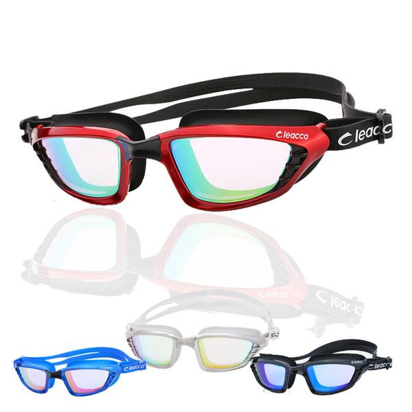 Wholesale-Silica Gel Large Frame Colorful Plating Anti-fog Swim Goggles Anti-UV Glass Men's Women's Scratch-proof Lens Adjustable Eyewear
