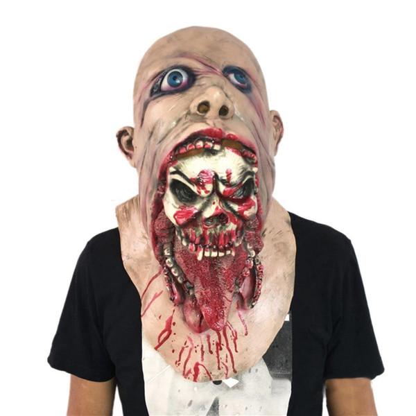 Halloween horror props disgusting rot face bloody zombie mask walking dead meat biohazard headgear Dropship