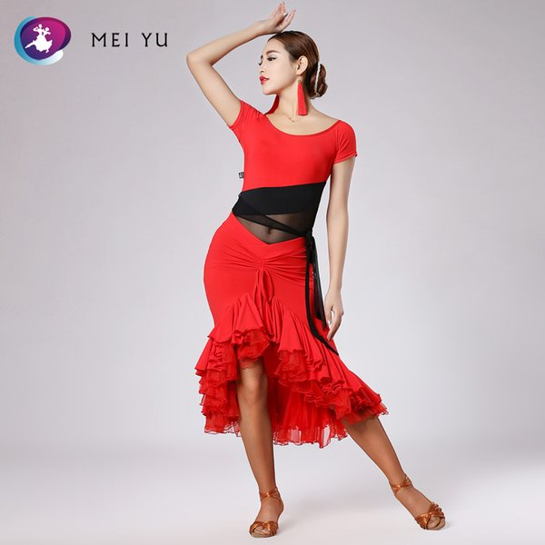 MEI YU 248 and 191 Latin Dance Costume Top and Skirt Suits Dance Dress Ballroom Costume Leotard Women Lady Evening Party Dress