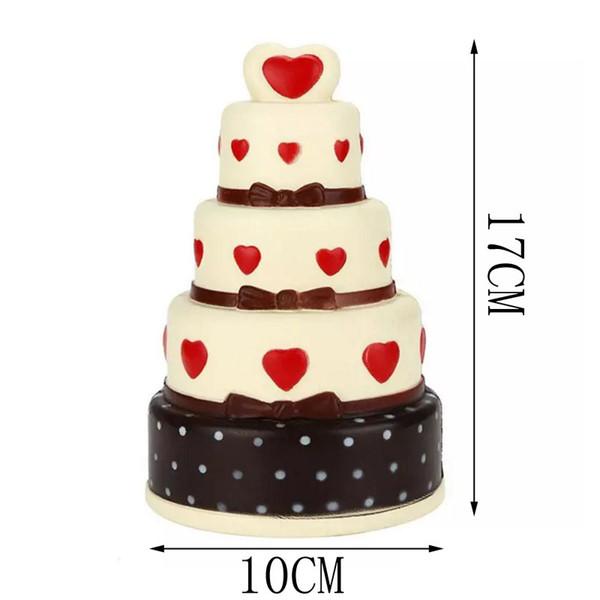 4 Couche Coeur Cake Jumbo Squishy Lent Rebond Big Squishies Gâteaux Simulation Alimentaire Amusant Jouets Créatifs