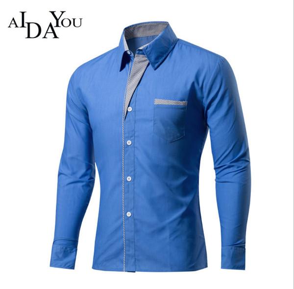 Compre Camisas Dos Homens Slim Fit Importado China Social Vestido Camisa Buesiness Homens Blusa De Algodão Camisa Masculina Muti Cores Com Decote Em V