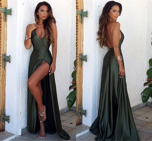 Dark Green Sexy Backless Prom Dresses Long Sexy V Neck High Side Split Floor Length Formal Dresses Evening Gowns Vestidos de fiesta largos