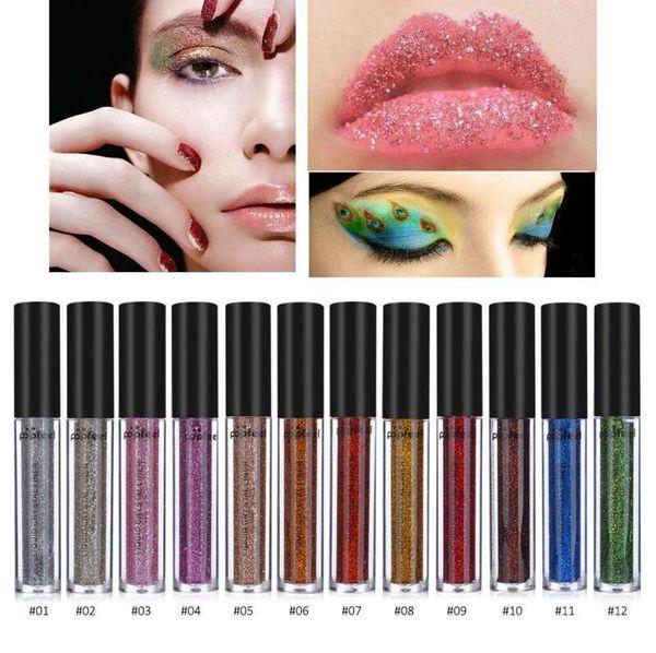 Glitter Eyes Make Up Liner para mujeres Fácil de usar Impermeable Pigmentado Rojo Blanco Oro Líquido Eyeliner Glitter Maquillaje 12 colores