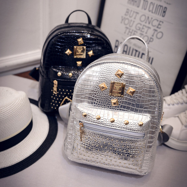 best selling Crocodile Rivet Silver Black Gold Backpack New Design Fashions Bags Women Girls Travel Small Backpack PU leather Shoulder Bags