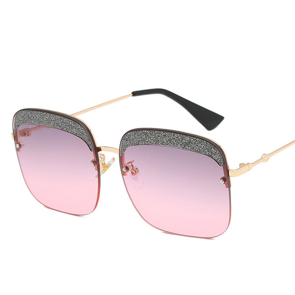 Super Fashion Sunglasses For Women Rimless Square Shades Bling Design New Brand Designer Pink Cute Sun Glasses Female Eyewear