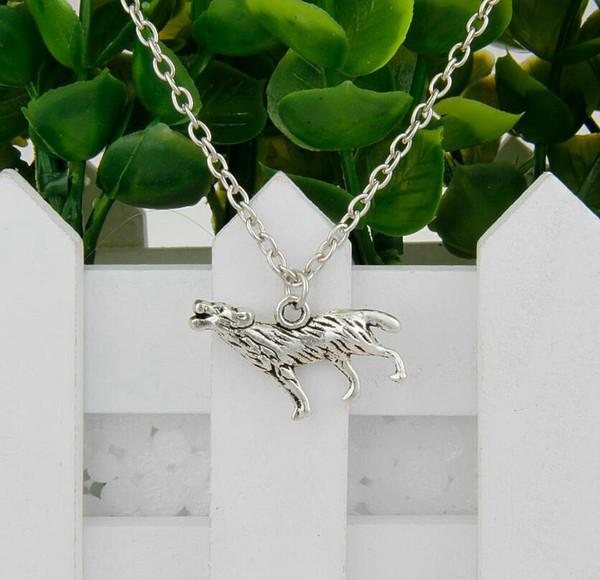 Hot Sale 12pcs Antique Silver Howling Wolf Charm Pendant Clavicle Short Chain Necklace Fashion Women Jewelry Unique Design Friendship Gift