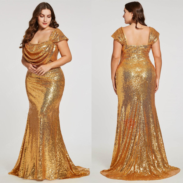 Sparkly Gold Sequined Mermaid Prom Dresses Plus Size Square Neck 2019  Zipper Back Evening Gowns Ruched Glitter Women Celebrity Party Dress Tea  Length ...