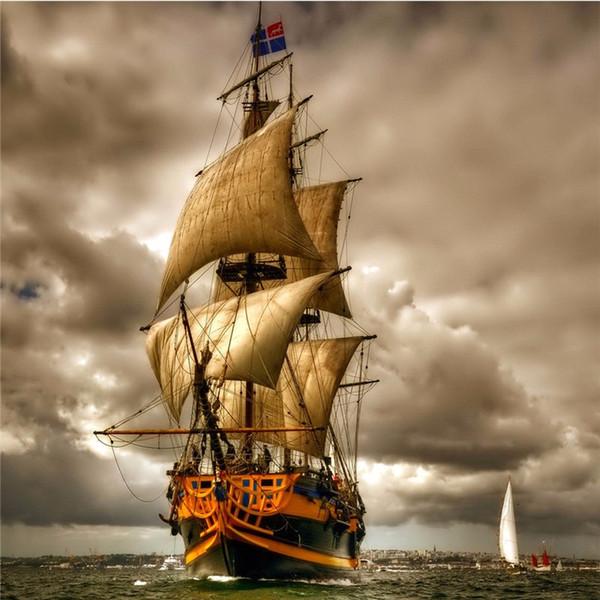 Ev dekor elmas mozaik İğne Yelkenli tekne resim diy 5D elmas Boyama Çapraz dikiş Tam elmas nakış