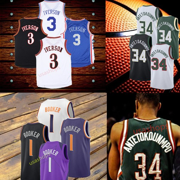 online store bfdb0 c62fc 2018 34 Giannis Antetokounmpo 1 Devin Booker 3 Allen Iverson Basketball  Rainbow Black White Purple Mens Stitched Jersey From Usashops, $18.37   ...