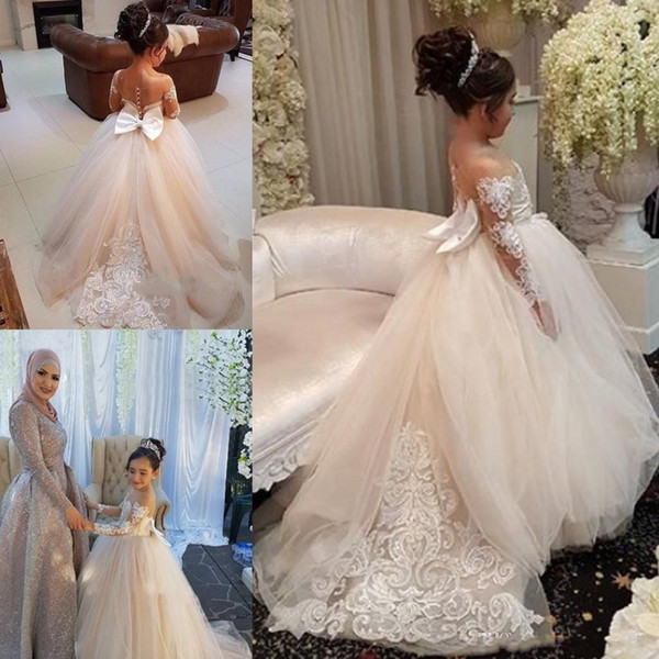 top popular 2019 Ball Gown Flower Girls Dresses Long Sleeves Sweep Train Illusion Bodice Applique Birthday Party Girls Pageant Gowns With Bow Customized 2019
