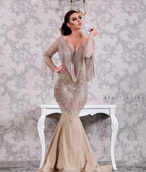Evening dress Yousef aljasmi Kim kardashian Long Dress Long Sleeve Crystal Tassels Tulle V-Neck Mermaid Zuhair murad