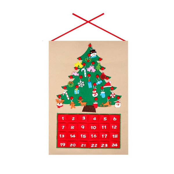 Hanging Christmas Decorations To Make.Holiday Decorations Diy Felt Christmas Advent Calendar Christmas Tree Countdown Calendar With Pockets New Year Hanging Ornaments Unique Christmas