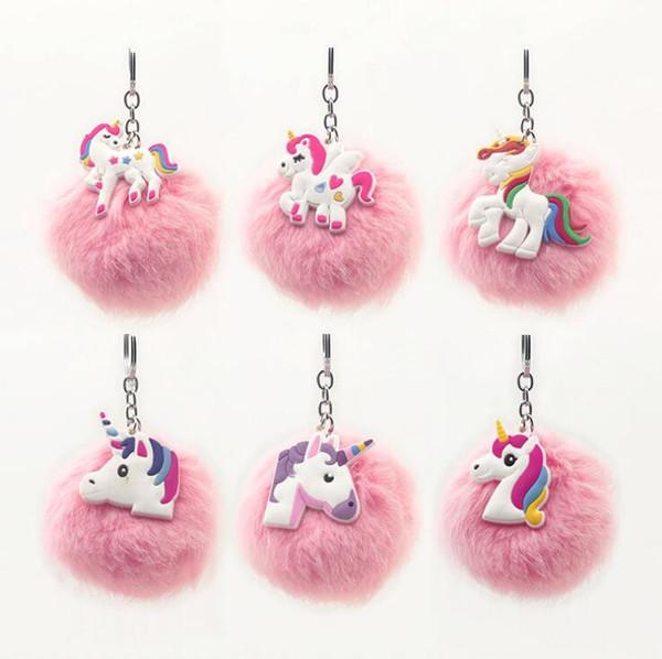 Unicorn Emoji Pom Keychain Accessories Artificial Pompoms Fluffy Fur Ball Pompon Key Chain Women Bag Car Keyring Holder Fluffy
