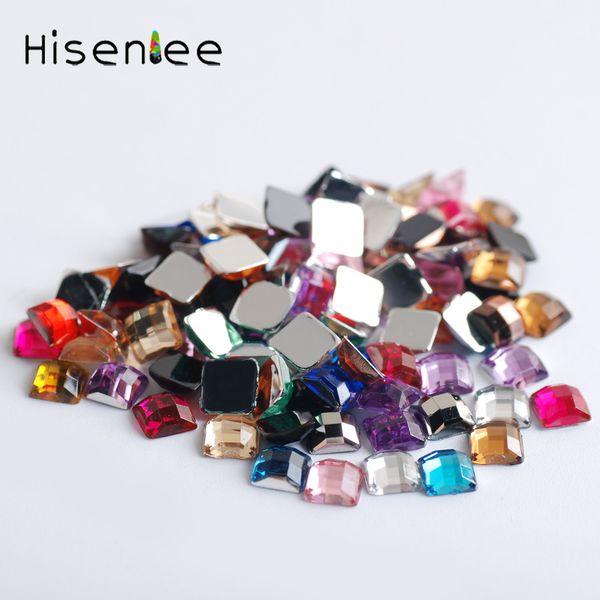 High quality 4MM 2000PCS dazzling classic square mesh shape design acrylic mixed color fashion charm rhinestone DIY nail art